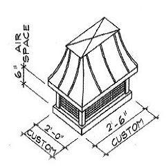 French Curved Copper Chimney Cap Dimensions