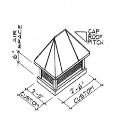 Hip Roof Copper Chimney Cap Dimensions